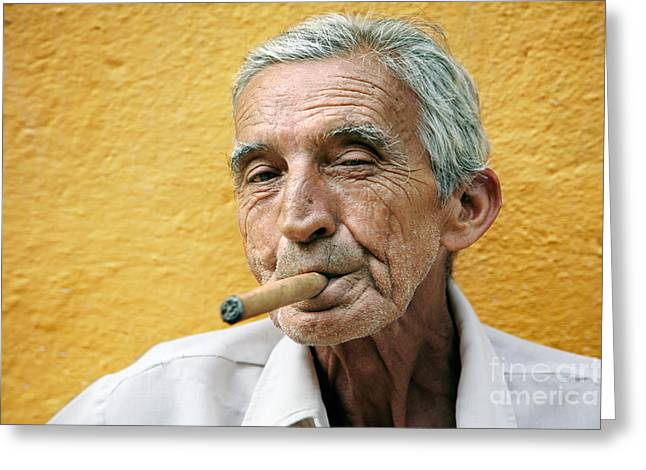Smoker Greeting Cards - Cigar smoking - Trinidad - Cuba Greeting Card by Rod McLean