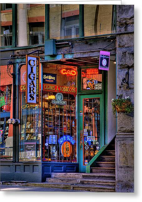 Seattle Landmark Greeting Cards - Cigar Store Greeting Card by David Patterson