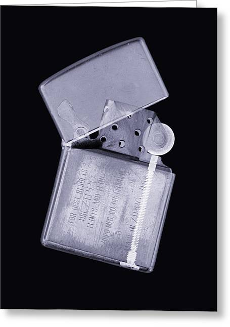 Lighter Greeting Cards - Cigarette Lighter, Simulated X-ray Greeting Card by Mark Sykes