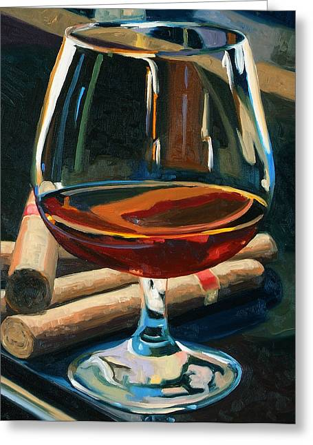 White Art Greeting Cards - Cigars and Brandy Greeting Card by Christopher Mize