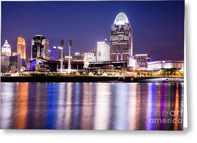 Ohio River Photographs Greeting Cards - Cincinnati at Night Downtown City Buildings Greeting Card by Paul Velgos