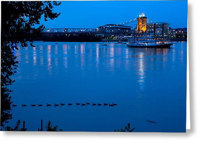 Allstar Greeting Cards - Cincinnati Belle Suspension bridge Greeting Card by Randall Branham