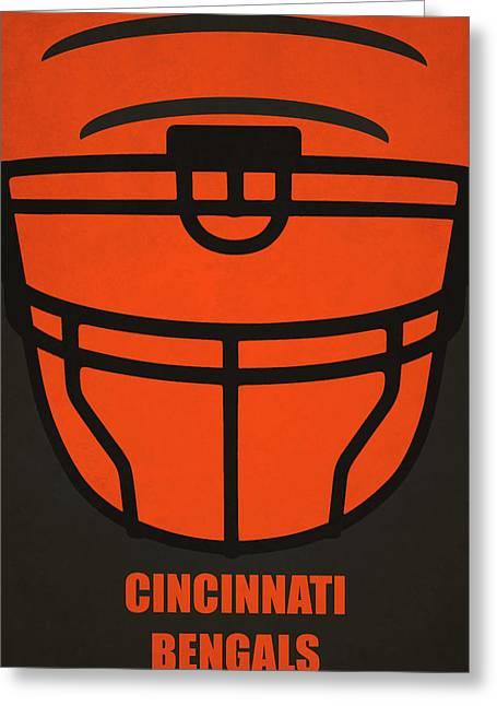 Cincinnati Bengals Helmet Art Greeting Card by Joe Hamilton