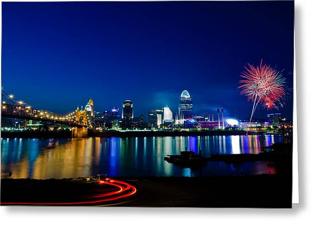 Fireworks Greeting Cards - Cincinnati Boom Greeting Card by Keith Allen