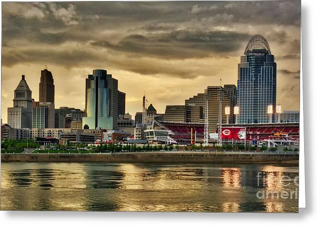 Cincinnati Evening Home Game Greeting Card by Mel Steinhauer