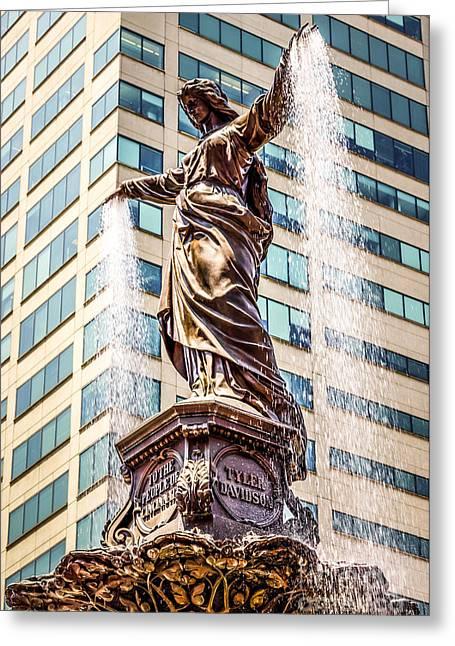 Cincinnati Fountain Genius Of Water By Tyler Davidson  Greeting Card by Paul Velgos