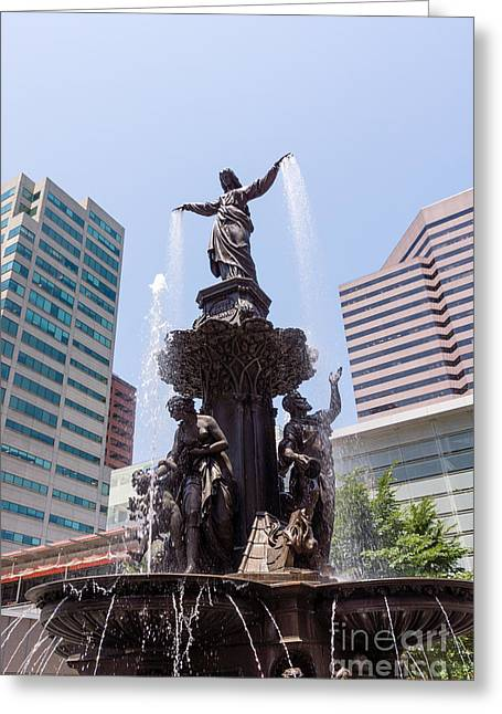 Business Woman Greeting Cards - Cincinnati Fountain Tyler Davidson Genius of Water Greeting Card by Paul Velgos