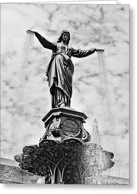 Genius Greeting Cards - Cincinnati Fountain Tyler Davidson Genius of Water Statue Greeting Card by Paul Velgos