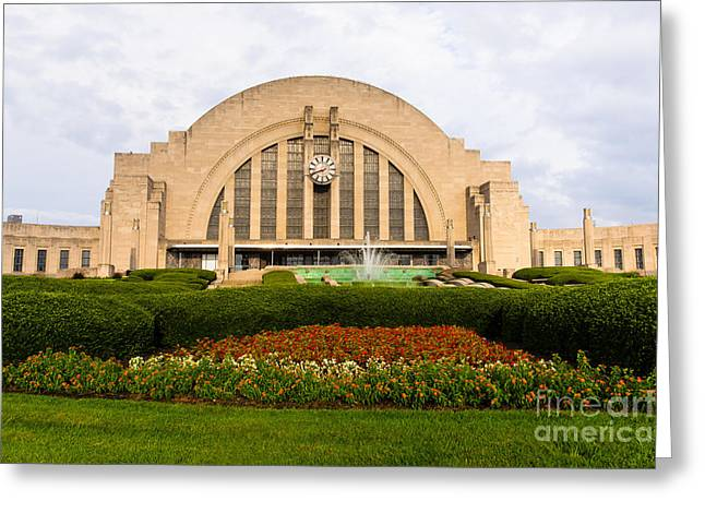 Clock Greeting Cards - Cincinnati Museum Center at Union Terminal Greeting Card by Paul Velgos