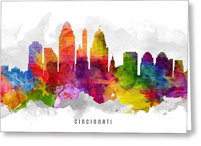 High Rise Greeting Cards - Cincinnati Ohio Cityscape 13 Greeting Card by Aged Pixel