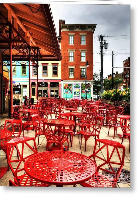 Cincinnati Red At Findlay Market Greeting Card by Mel Steinhauer