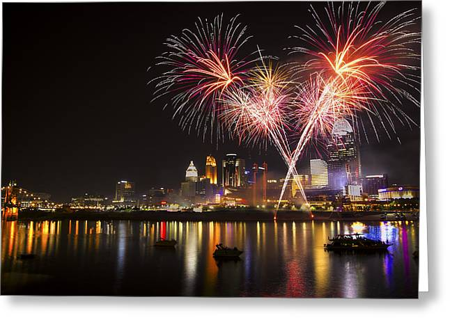 Fireworks Prints Greeting Cards - Cincinnati Reds Fireworks  Greeting Card by Craig Bowman