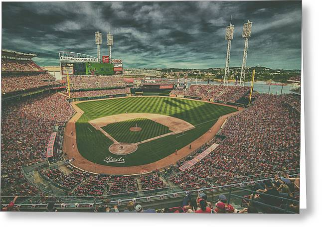 Boys Of Summer Greeting Cards - Cincinnati Reds Great American Ballpark Creative 5 Greeting Card by David Haskett