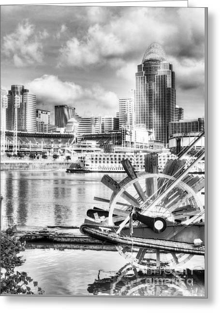 Baseball Photographs Greeting Cards - Cincinnati River Days BW Greeting Card by Mel Steinhauer