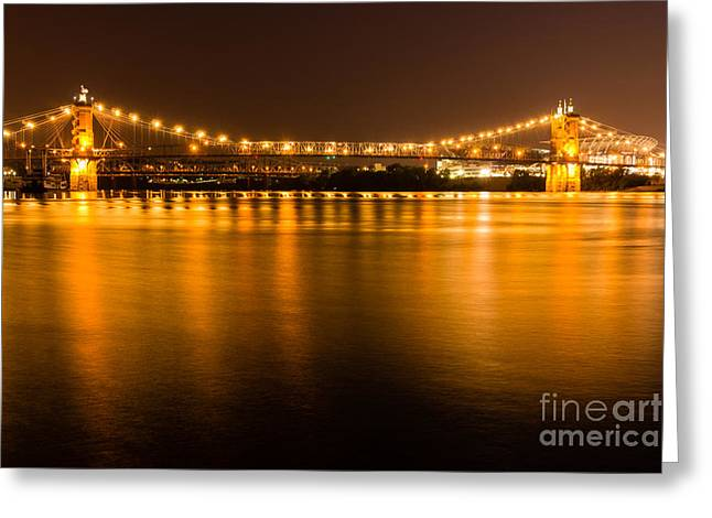 Historic Landmarks Greeting Cards - Cincinnati Roebling Bridge at Night Greeting Card by Paul Velgos