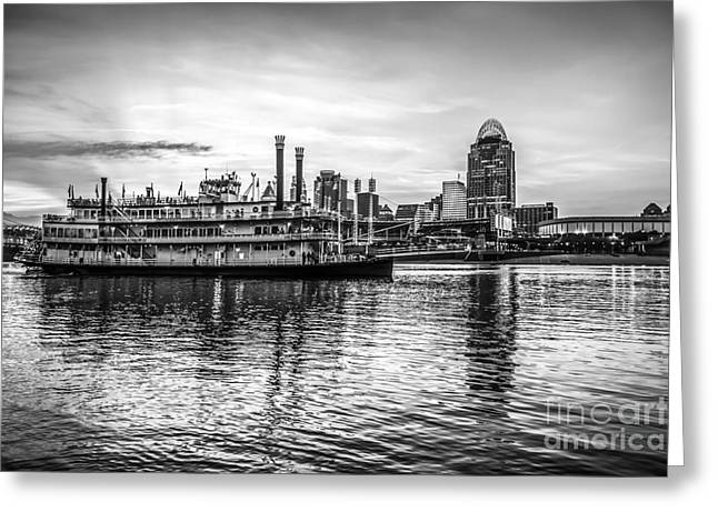 Cincinnati Skyline And Riverboat In Black And White Greeting Card by Paul Velgos