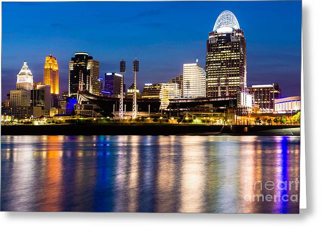 Urban Sport Greeting Cards - Cincinnati Skyline at Night  Greeting Card by Paul Velgos