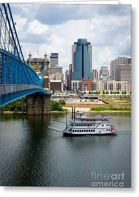 Riverboats Greeting Cards - Cincinnati Skyline Riverboat and Bridge Greeting Card by Paul Velgos