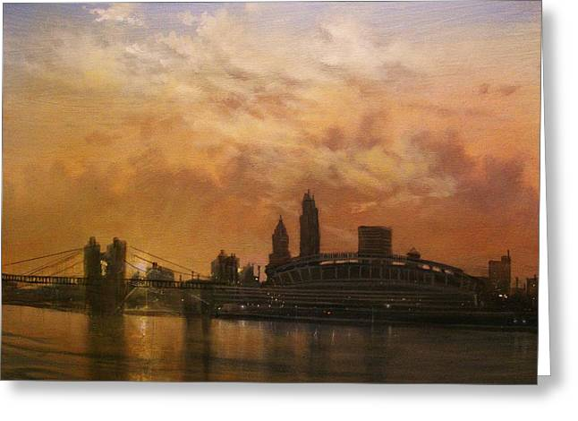 City Lights Greeting Cards - Cincinnati Skyline Greeting Card by Tom Shropshire