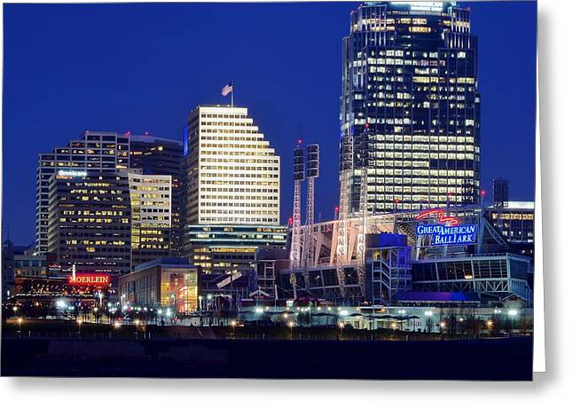 Baseball Stadiums Greeting Cards - Cincinnati Squared Greeting Card by Frozen in Time Fine Art Photography