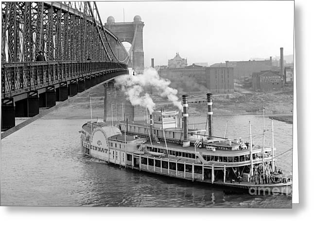 Padre Art Greeting Cards - Cincinnati Suspension Bridge and Steamboat 1906 BW Greeting Card by Padre Art