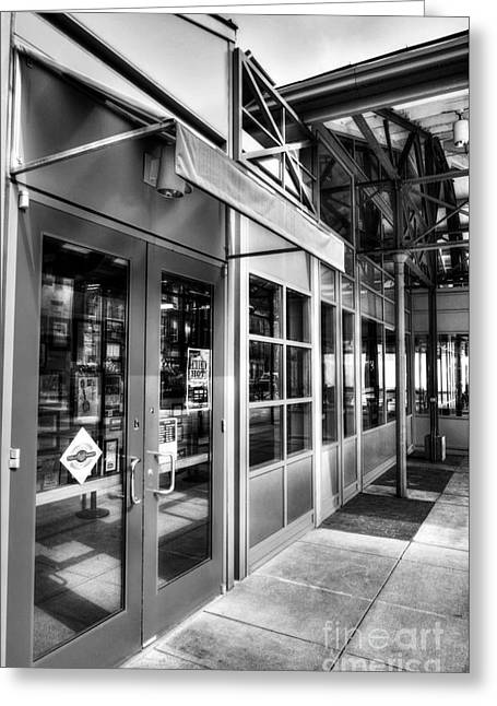 Reflections In Glass Greeting Cards - Cincinnatis Findlay Market BW Greeting Card by Mel Steinhauer