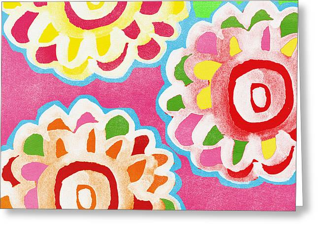 Bold Color Greeting Cards - Fiesta Floral 2 Greeting Card by Linda Woods