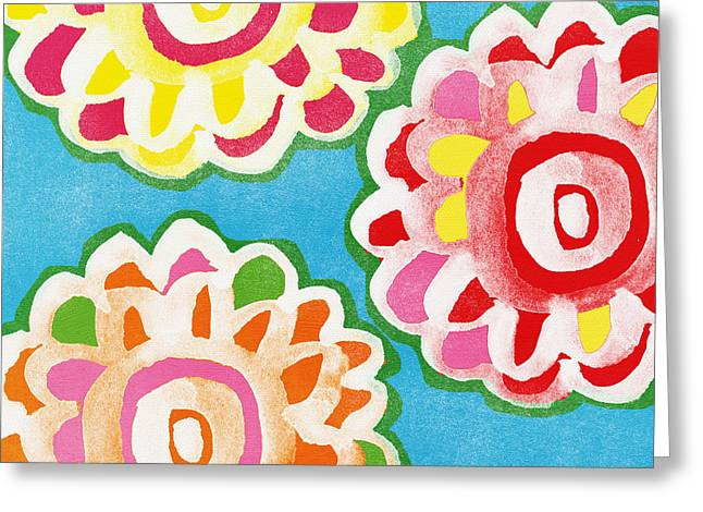 Red Flowers Greeting Cards - Fiesta Floral 1 Greeting Card by Linda Woods