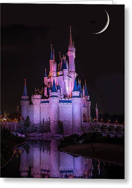 Cinderella's Castle Under A Crescent Moon Greeting Card by Chris Bordeleau