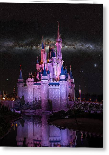 Walt Disney World Greeting Cards - Cinderellas Castle under the Milky way Greeting Card by Chris Bordeleau