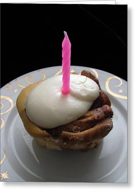 Cinnamon Bun Birthday Greeting Card by Lindie Racz