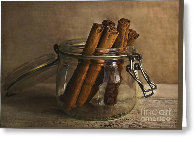Apple Pie Greeting Cards - Cinnamon sticks in a glass jar Greeting Card by Elena Nosyreva
