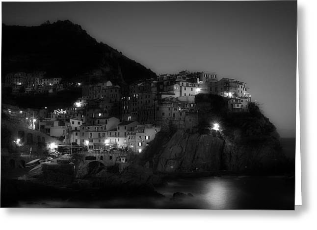 Italian Sunset Greeting Cards - Cinque Terre at Night Greeting Card by Unsplash