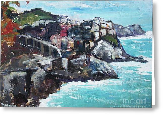 Italian Riveria Greeting Cards - Cinque Terre Italy Greeting Card by Denise Justice