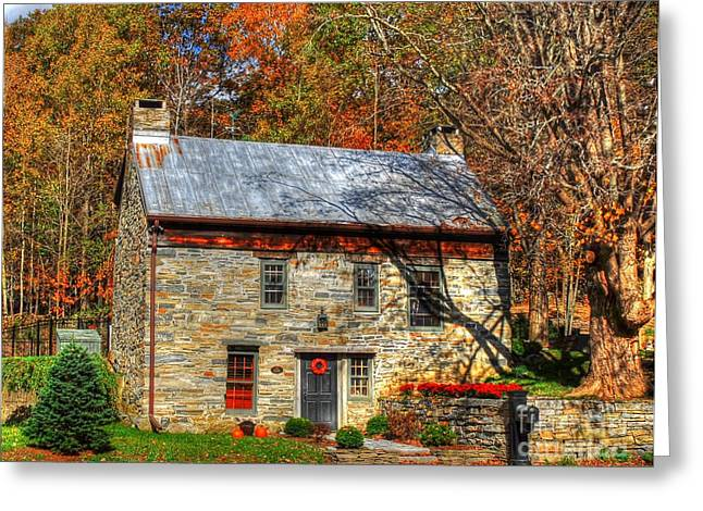 Tin Roof Greeting Cards - Circa 1776 stone house Greeting Card by Linda Covino