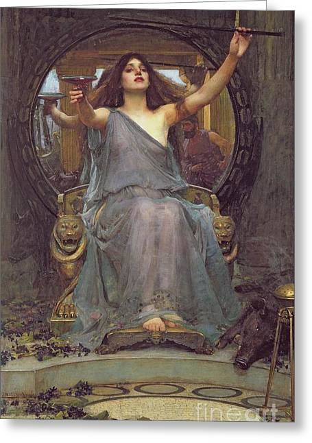 Seen Greeting Cards - Circe Offering the Cup to Ulysses Greeting Card by John Williams Waterhouse