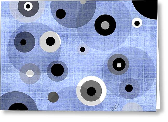 Grey Tapestries - Textiles Greeting Cards - Circle Dream in Blue Greeting Card by Sharon Johnston