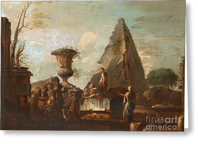 Circle Of Carpricco With Figures Greeting Card by Giovanni Paolo