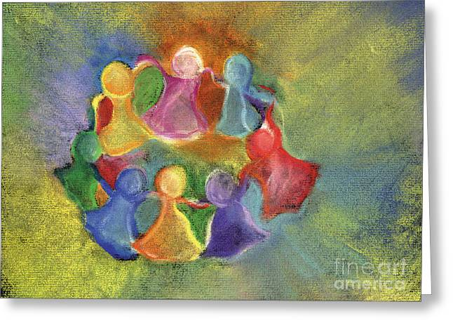 Circle Pastels Greeting Cards - Circle of Friends Greeting Card by Susan Vannelli