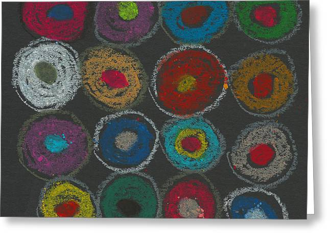 Circle Pastels Greeting Cards - Circles Abstract Oil Pastel Greeting Card by Edward Fielding