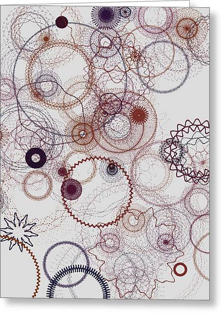 Generative Abstract Greeting Cards - Circles Du Soleil 9-24-2015 #2 Greeting Card by Steven Harry Markowitz