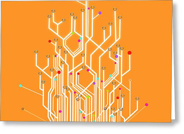 Connected Greeting Cards - Circuit Board Graphic Greeting Card by Setsiri Silapasuwanchai