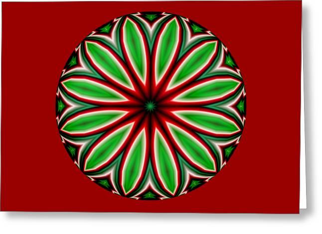 Xmas Greeting Cards - Round Crazy Christmas Flower Greeting Card by Ruth Moratz