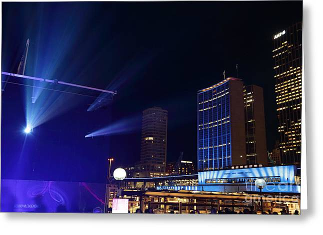 Birght Greeting Cards - Circular Quay Sydney comes alive for Vivid Sydney Greeting Card by Leah-Anne Thompson