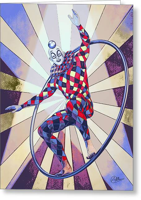 Jester Greeting Cards - Circus Boy By Quim Abella Greeting Card by Joaquin Abella