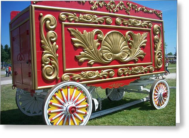 Circus Car In Red And Gold Greeting Card by Anita Burgermeister