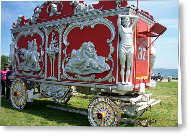 Circus Car In Red And Silver Greeting Card by Anita Burgermeister
