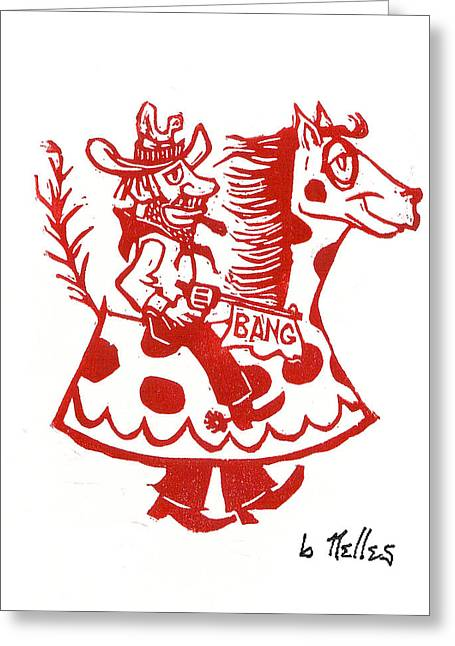 Linoleum Block Print Greeting Cards - Circus Cowboy Greeting Card by Barry Nelles Art