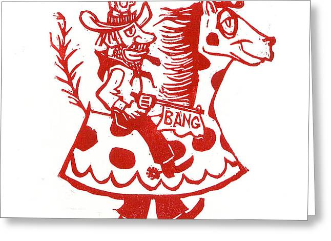 Circus Cowboy Greeting Card by Barry Nelles Art