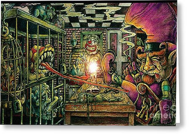 Dungeons Drawings Greeting Cards - Circus Dungeon Greeting Card by Jeffrey Donato